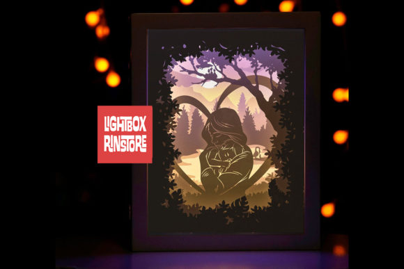 Mother's Day 3D Paper Cut Lightbox Graphic 3D Shadow Box By lightbox.rinstore - Image 3