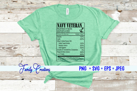 Navy Veteran Nutrition Facts Graphic Crafts By Family Creations