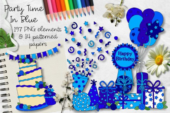 Print on Demand: Party Time in Blue Clipart & Paper Graphic Illustrations By Arda Designs
