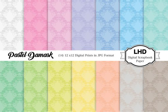 Pastel Damask in Rainbow Colors Graphic Patterns By LeskaHamatyDesign