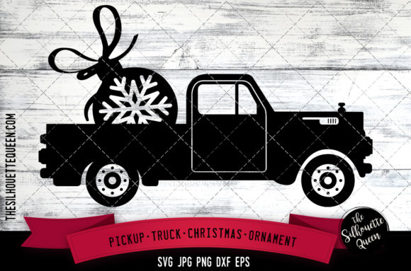 Pickup Truck Christmas Ornament Graphic Crafts By thesilhouettequeenshop