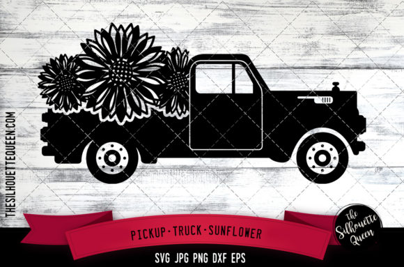 Pickup Truck Sunflower Graphic Crafts By thesilhouettequeenshop