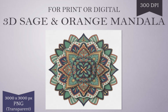 Print on Demand: Printable 3D Colored Mandala Graphic Print Templates By Digital Town