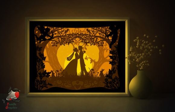 Romantic Wedding Light Box Template Graphic 3D Shadow Box By SweetieGraphics