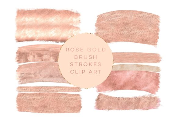 Print on Demand: Rose Gold Brush Strokes Clipart Peach Graphic Illustrations By SunflowerLove