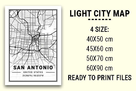 Print on Demand: San Antonio Light City Map Graphic Photos By tienstencil