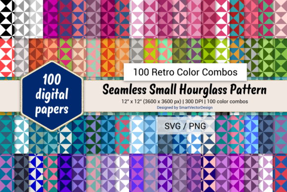 Print on Demand: Small Hourglass Paper - 100 Retro Combos Graphic Backgrounds By SmartVectorDesign
