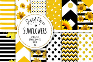 Print on Demand: Sunflower Digital Paper Set Grafik Hintegründe von MutchiDesign