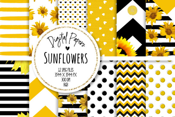 Print on Demand: Sunflower Digital Paper Set Graphic Backgrounds By loyaarts