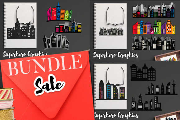 Print on Demand: Superhero Skyscraper Bundle Graphic Illustrations By Revidevi