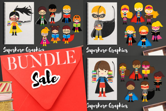 Print on Demand: Superhero with Books Bundle Graphic Illustrations By Revidevi