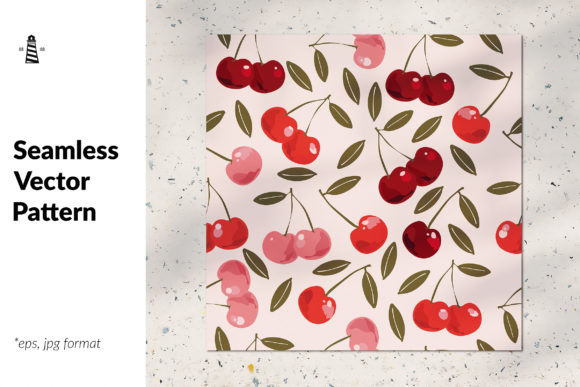 Print on Demand: Sweet Cherry Seamless Pattern Graphic Patterns By northseastudio