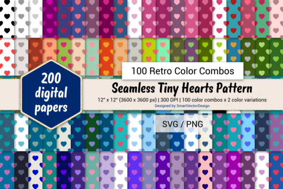 Print on Demand: Tiny Hearts Paper - 100 Retro Combos Graphic Backgrounds By SmartVectorDesign