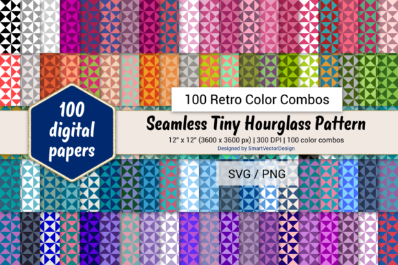 Print on Demand: Tiny Hourglass Paper - 100 Retro Combos Graphic Backgrounds By SmartVectorDesign