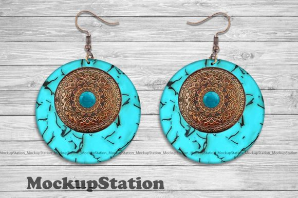 Print on Demand: Turquoise Round Earring Sublimation Graphic Crafts By Mockup Station
