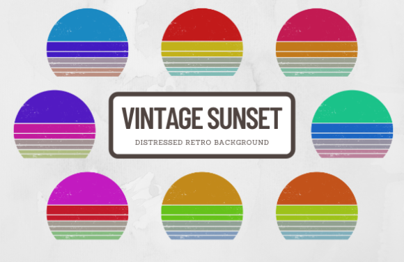 Print on Demand: Vintage Retro Sunset Background Elements Graphic Crafts By atlasart