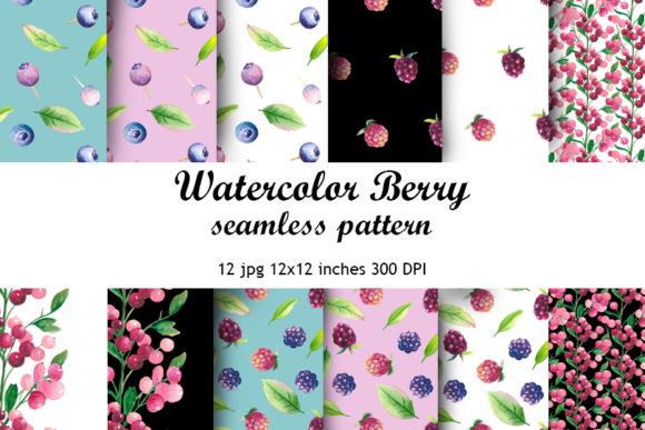 Watercolor Berry Seamless Pattern Graphic Patterns By colours_of_wind