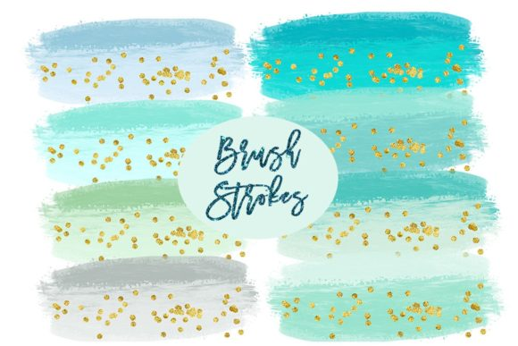 Print on Demand: Watercolor Splashes Clipart, Mint Brush Graphic Illustrations By SunflowerLove