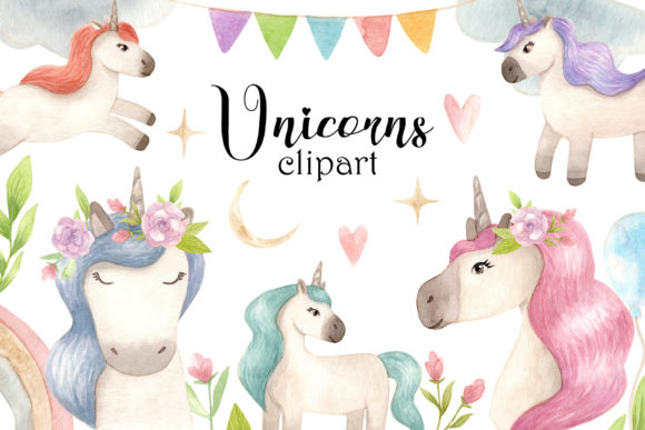 Watercolor Unicorns. Clipart and Pattern Graphic Illustrations By Slastick