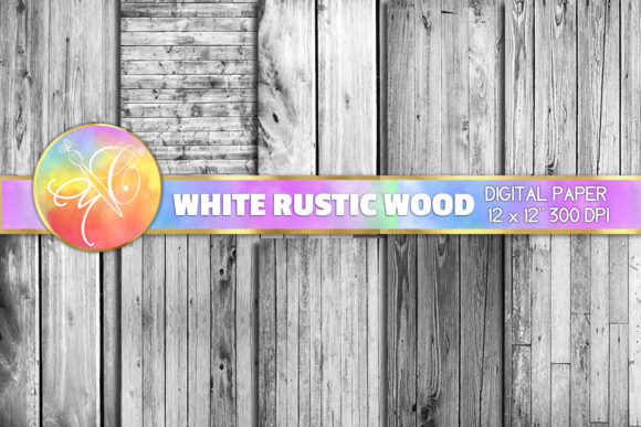 White Rustic Wood Digital Paper Graphic Backgrounds By paperart.bymc - Image 1