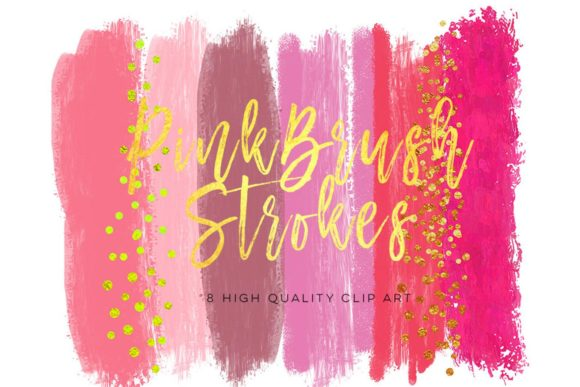 Print on Demand: Pink Brush Strokes, Watercolor Pink Graphic Illustrations By SunflowerLove