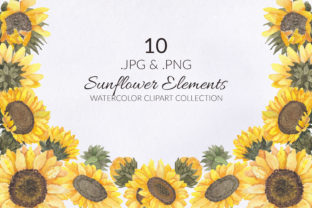 Print on Demand: 10 Sunflower Watercolor Illustration Set Graphic Illustrations By elsabenaa