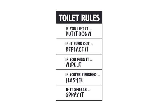 TOILET RULES Bathroom Craft Cut File By Creative Fabrica Crafts