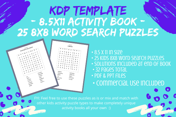 Print on Demand: 25 Kids 8x8 Word Search Puzzles Book Graphic KDP Interiors By Tomboy Designs