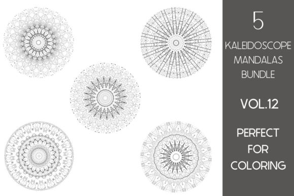 Print on Demand: 5 Kaleidoscope Mandalas Vol.12 Graphic Coloring Pages & Books Adults By Fleur de Tango