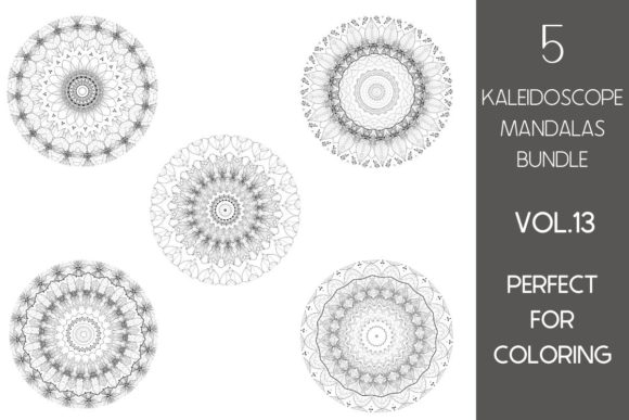 Print on Demand: 5 Kaleidoscope Mandalas Vol.13 Graphic Illustrations By Fleur de Tango