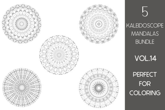 Print on Demand: 5 Kaleidoscope Mandalas Vol.14 Graphic Illustrations By Fleur de Tango