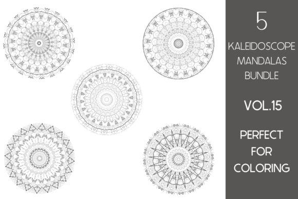 Print on Demand: 5 Kaleidoscope Mandalas Vol.15 Graphic Illustrations By Fleur de Tango