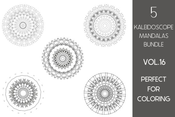 Print on Demand: 5 Kaleidoscope Mandalas Vol.16 Graphic Illustrations By Fleur de Tango