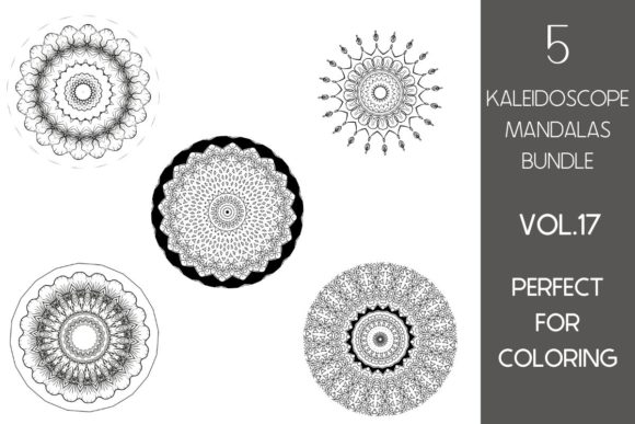 Print on Demand: 5 Kaleidoscope Mandalas Vol.17 Graphic Illustrations By Fleur de Tango