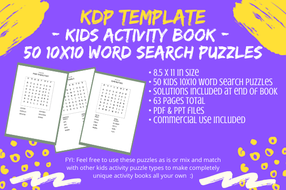 Print on Demand: 50 Kids 10x10 Word Search Puzzles 4 KDP Graphic KDP Interiors By Tomboy Designs