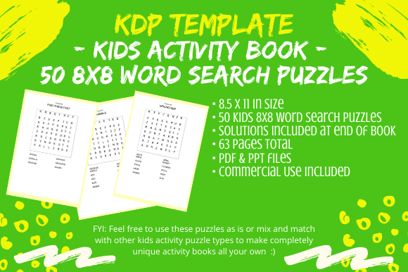 Print on Demand: 50 Kids 8x8 Word Search Puzzles for KDP Graphic KDP Interiors By Tomboy Designs