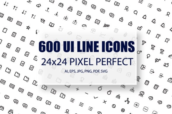 600 UI Line Icons Pack Graphic Icons By alexdndz