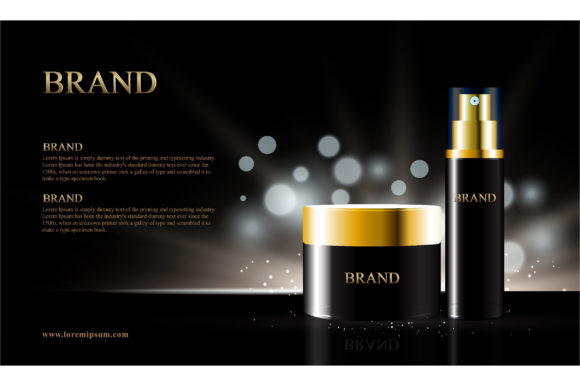 Black Background for Cosmetic Products Graphic Illustrations By nhongrand