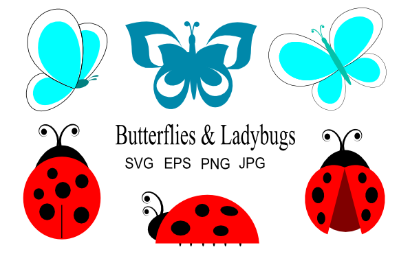 Print on Demand: Butterflies and Ladybugs Graphic Illustrations By artbyliz