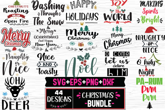 Christmas Bundle 44 Christmas Designs Graphic By Svg In Design Creative Fabrica
