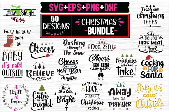 Print on Demand: Christmas Bundle -  50 Christmas Designs Graphic Print Templates By svg.in.design