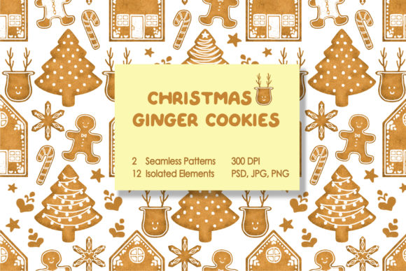 Christmas Ginger Cookies Graphic Patterns By tobagu