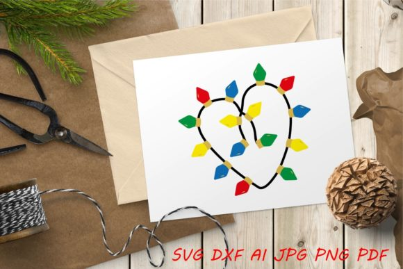 Christmas Lights Heart Graphic Crafts By Tanja Dianova