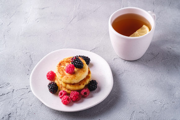 Print on Demand: Cottage Cheese Pancakes with Berries Graphic Food & Drinks By frostroomhead