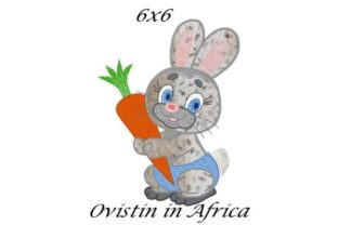 Cute Bunny with Carrot Applique Farm Animals Embroidery Design By Ovistin in Africa