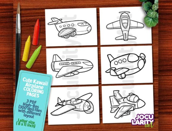 Cute Kawaii Airplane Coloring Pages Gráfico Libros para colorear - Niños Por JocularityArt