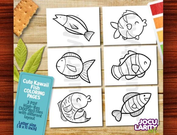 Cute Kawaii Fish Coloring Pages Graphic Coloring Pages & Books Kids By JocularityArt