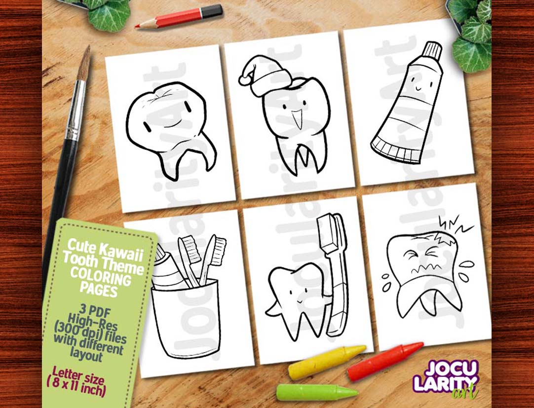 Cute Kawaii Tooth Coloring Pages Grafik Von Jocularityart Creative Fabrica