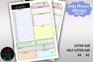 Daily Planner with Time- Hourly Planner Graphic Print Templates By Happy Printables Club