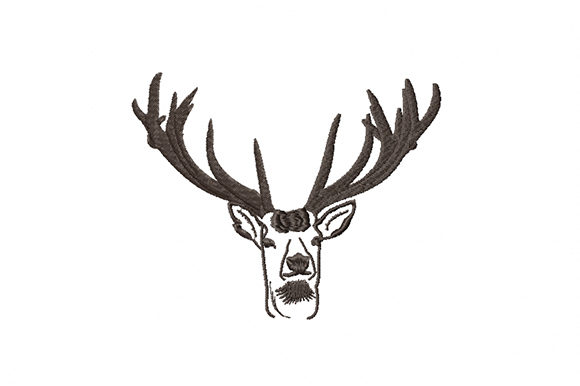 Print on Demand: Deer Head Black Silhouette Wild Animals Embroidery Design By EmbArt